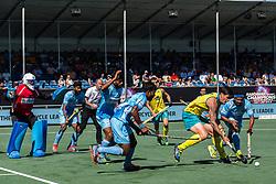 (L-R) goalkeeper Sreejehs Parattu Raveendran of India, Surender Kumar of India, Varun Kumar of India, Amit Rohidas of India, Blake Govers of Australia, Birenda Lakra of India during the Champions Trophy finale between the Australia and India on the fields of BH&BC Breda on Juli 1, 2018 in Breda, the Netherlands.