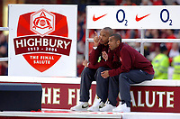 Photo: Daniel Hambury.<br />Arsenal v Wigan Athletic. The Barclays Premiership. 07/05/2006.<br />Arsenal's Thierry Henry and Ashley Cole enjoy a moment at the end of the game.
