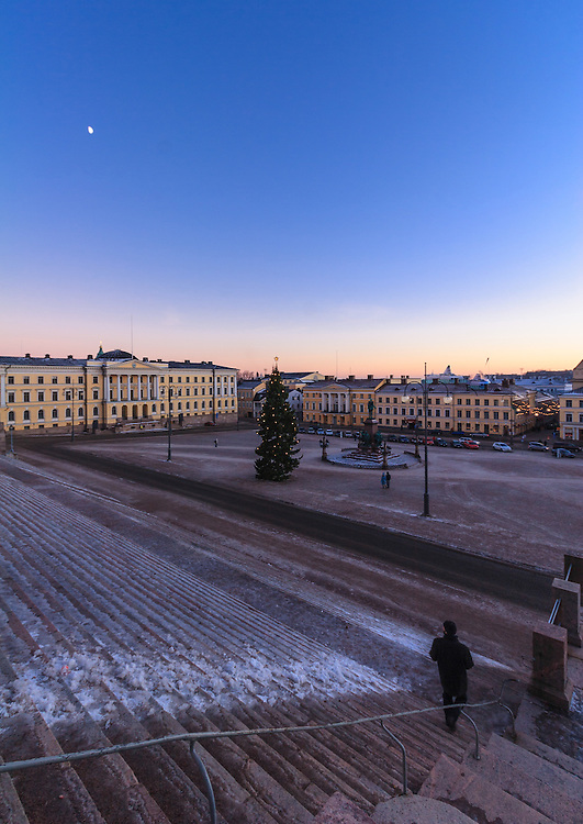 The Senate Square in Helsinki, Finland. The Senate Square and its surroundings form a unique and cohesive example of Neoclassical architecture. Today, the Senate Square is one of the main tourist attractions of Helsinki.
