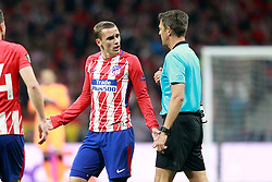 Atletico de Madrid's Antoine Griezmann have words with the Italian referee Gianluca Rocchi during Europa League semi-final, second leg in Madrid, Spain, May 3, 2018. Atletico won 1-0 and reaches the final. Photo by Acero/Alterphotos/ABACAPRESS.COM