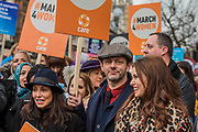 Natalie Imbruglia, Michael Sheen  and Sophie Ellis Bextor - #March4Women 2018, a march and rally in London to celebrate International Women's Day and 100 years since the first women in the UK gained the right to vote.  Organised by Care International the march stated at Old Palace Yard and ended in a rally in Trafalgar Square.