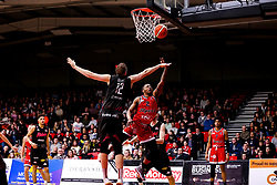 Panos Mayindombe of Bristol Flyers reaches for the basket - Photo mandatory by-line: Robbie Stephenson/JMP - 11/01/2019 - BASKETBALL - Leicester Sports Arena - Leicester, England - Leicester Riders v Bristol Flyers - British Basketball League Championship