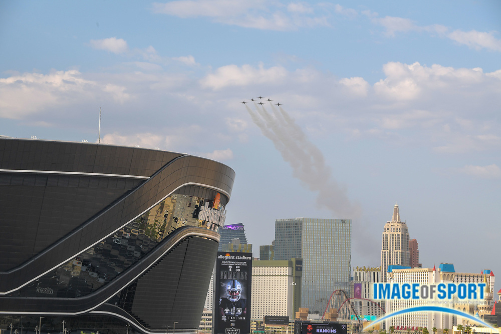 General overall view of the Thunderbirds flying over the Las Vegas Raiders Allegiant Stadium before a gain against the New Orleans Saints on, Monday, Sept. 21, 2020, in Las Vegas. (Dylan Stewart/image of Sport)