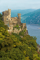 Vertical view of the Rheinstein (Burg) Castle settled above the Rhine River, Trechtingshausen, Germany.