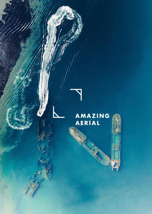 Aerial view of shipwreck site on Russky Island near Vladivostok, Russia.