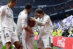 January 19, 2019 - Madrid, Madrid, Spain - Real Madrid team players are seen celebrating after scoring during the La Liga football match between Real Madrid and Sevilla FC at the Estadio Santiago Bernabéu in Madrid. (Credit Image: © Manu Reino/SOPA Images via ZUMA Wire)