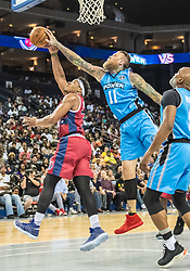 July 6, 2018 - Oakland, CA, U.S. - OAKLAND, CA - JULY 06: Chris 'Birdman' Andersen (11) of Power blocks a lay up by David Hawkins (34) of Tri-State during game 3 in week three of the BIG3 3-on-3 basketball league on Friday, July 6, 2018 at the Oracle Arena in Oakland, CA (Photo by Douglas Stringer/Icon Sportswire) (Credit Image: © Douglas Stringer/Icon SMI via ZUMA Press)