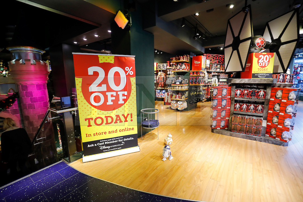 """© Licensed to London News Pictures. 25/11/2016. London, UK. Empty shopping aisles in The Disney Store on Oxford Street, London, in the early hours on """"Black Friday"""". Sales from this years Black Friday event are expected to top £2 billion. Photo credit: Tolga Akmen/LNP"""