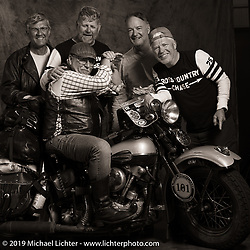 Terry Richardson with his 1946 Harley-Davidson FL Knucklehead and other fellow Kansans during the Cross Country Chase motorcycle endurance run from Sault Sainte Marie, MI to Key West, FL (for vintage bikes from 1930-1948). Photographed at the end of Stage 3 from Milwaukee, WI to Urbana, IL. USA. Sunday, September 8, 2019. Photography ©2019 Michael Lichter.