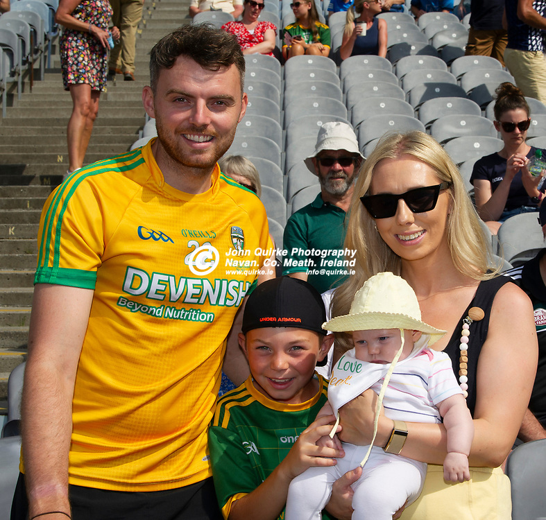 18-07-21. Meath v Dublin - Leinster SFC Semi-Final at Croke Park.<br /> Niall Jones Charlie Jones, Aisling O'Neill and easily Meath's youngest supporter Maia Jones from Dunboyne in Croke Park supporting Meath in Leinster SFC Semi-Final.<br /> Photo: John Quirke / www.quirke.ie<br /> ©John Quirke Photography, 16 Proudstown Road, Navan. Co. Meath. (info@quirke.ie / 046-9028461 / 087-2579454).