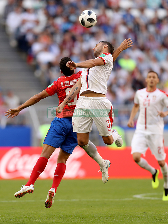 SAMARA, June 17, 2018  Dusko Tosic (top) of Serbia vies with Daniel Colindres of Costa Rica during a group E match between Costa Rica and Serbia at the 2018 FIFA World Cup in Samara, Russia, June 17, 2018. Serbia won 1-0. (Credit Image: © Fei Maohua/Xinhua via ZUMA Wire)