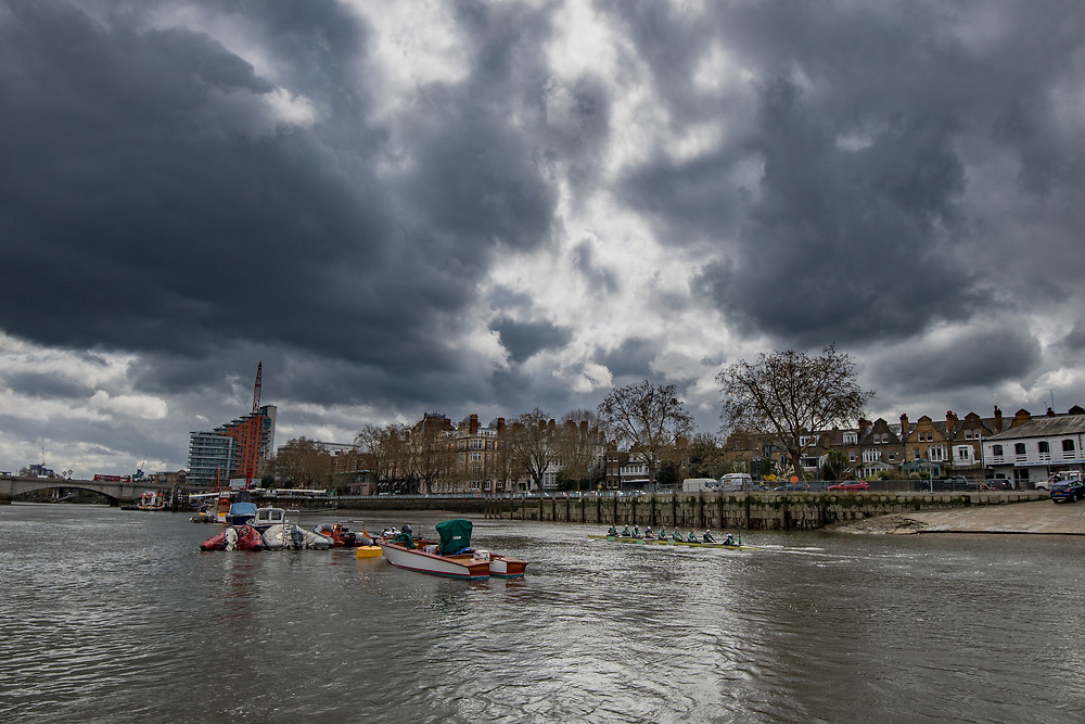 Crews prepare for Sunday's 165th Boat Race between Oxford and Cambridge, River Thames, London, Thursday 4th April 2019.<br /> <br /> Cambridge Women , Tricia Smith, bow , Sophie Deans, 2 , Laura Foster, 3 , Larkin Sayre, 4 , Kate Horvat, 5 , Pippa Whittaker, 6 , Ida Gortz Jacobsen, 7 , Lily Lindsay, stroke , Hugh Spaughton, cox <br /> <br /> © Copyright photo Steve McArthur / @RowingCelebration   www.rowingcelebration.com
