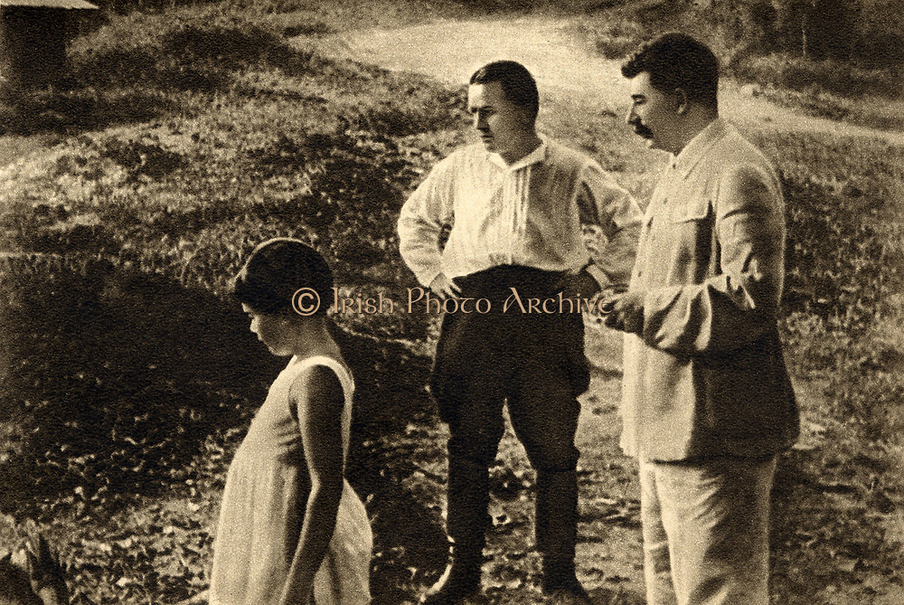 Stalin, Svetlana and Kirov in the countryside, 1934    Caption : Stalin, Svetlana and Kirov in the countryside    1934