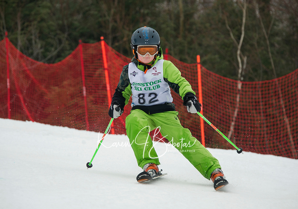 Ryder Hennig racing in the stubby slalom course on Sunday morning during the first annual Candy Man Cup with Gunstock Ski Club in honor of GSC's long time Coach Dan Wheeler.  (Karen Bobotas/for the Laconia Daily Sun)