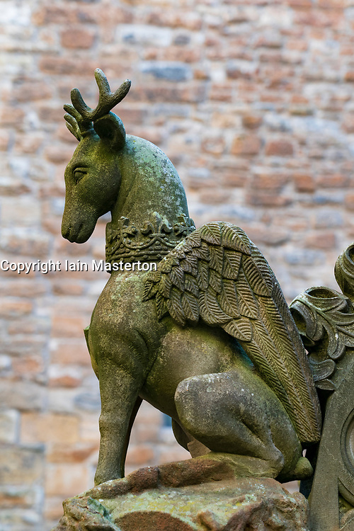 Detail of carved stone animal on fountain in courtyard of Linlithgow Palace in Linlithgow, West Lothian, Scotland, UK. Birthplace of Mary Queen of Scots.