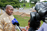 DURBAN - 20 November 2016 - Mxolisi Kaunda, the MEC (provincial minister) for Transaport, Community Safety and Liaison in South Africa's KwaZulu-Natal province speaks to the media after a wreath laying ceremony in Pinetown to commemorate  World Day of Remembrance for Road Traffic Victims. The ceremony took place at the bottom of Fields Hill where 24 people were killed in Septmber 2013 when a truck's brakes failed and plowed through an intersection killing 24 people. Picture: Allied Picture Press/APP