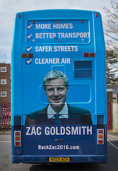 © Licensed to London News Pictures. 03/03/2016. London, UK.  Conservative candidate for London Mayor Zac Goldsmith's  campaign bus is seen in Sidcup. Photo credit: Peter Macdiarmid/LNP