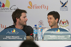 Adam Minoprio and Mathieu Richard share a joke at the press conference after thier crunch match during qualifying session 3 Monsoon Cup 2010. World Match Racing Tour, Kuala Terengganu, Malaysia. 3 December 2010. Photo: Subzero Images/WMRT