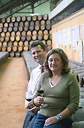 Oak barrel aging and fermentation cellar. Filipa Tomaz da Costa winemaker. Bernardo Gouvea previously general manager. Bacalhoa Vinhos, Azeitao, Portugal