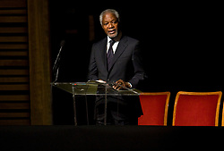File Photo - Former UN Secretary General Kofi Annan speaks at the memorial service ffor Ambassador Richard Holbrooke held at the Kennedy Center in Washington, D.C., USA, on January 14, 2011. Holbrooke passed away in December after undergoing surgery to repair a tear in his aorta. Kofi Annan, the former UN secretary-general who won the Nobel Peace Prize for humanitarian work, has died aged 80, his aides say. Photo by Kristoffer Tripplaar/Pool/ABACAPRESS.COM