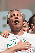Fernando Santos portuguese coach and football players speaking to the crowd of portuguese supporters at Alameda Dom Afonso Henriques, in Lisbon. Portugal's national squad won the Euro Cup the day before, beating in the final France, the organizing country of the European Football Championship, in a match that ended 1-0 after extra-time.