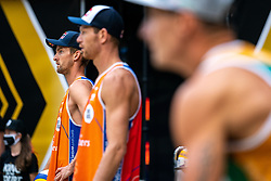 Robert Meeuwsen, Alexander Brouwer in action during the last day of the beach volleyball event King of the Court at Jaarbeursplein on September 12, 2020 in Utrecht.