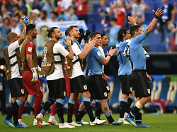 SAMARA, June 25, 2018  Players of Uruguay greet the audience after the 2018 FIFA World Cup Group A match between Uruguay and Russia in Samara, Russia, June 25, 2018. Uruguay won 3-0. Russia and Uruguay advanced to the round of 16. (Credit Image: © Du Yu/Xinhua via ZUMA Wire)