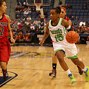 Kaila Turner, Notre Dame, in action during the Notre Dame Fighting Irish V Louisville Cardinals Semi Final match during the Big East Conference, 2013 Women's Basketball Championships at the XL Center, Hartford, Connecticut, USA. 11th March. Photo Tim Clayton