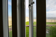 View from a cell window in Beaufort House, a skill development unit for enhanced prisoners. Part of HMP/YOI Portland, a resettlement prison with a capacity for 530 prisoners. Dorset, United Kingdom