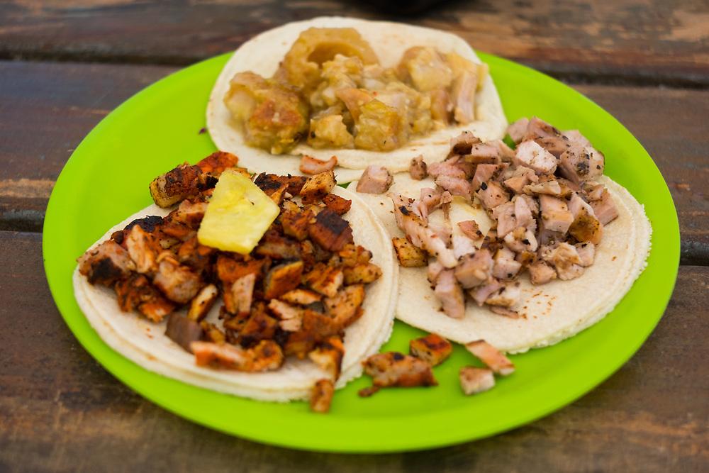 Al Pastor, Chicharrón, Poc Chuc Tacos at Taqueria La Eufemia ($3.00) - OFF - tulum, $60MX