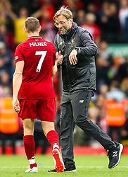 Liverpool manager Jurgen Klopp celebrates victory over Southampton with James Milner of Liverpool - Mandatory by-line: Robbie Stephenson/JMP - 22/09/2018 - FOOTBALL - Anfield - Liverpool, England - Liverpool v Southampton - Premier League