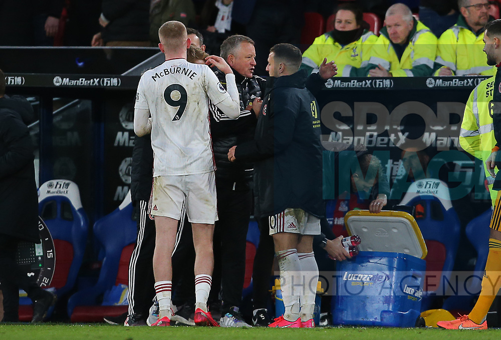 Sheffield United's manager Chris Wilder celebrates with  Oliver McBurnie and Billy Sharp after the Premier League match at Selhurst Park, London. Picture date: 1st February 2020. Picture credit should read: Paul Terry/Sportimage
