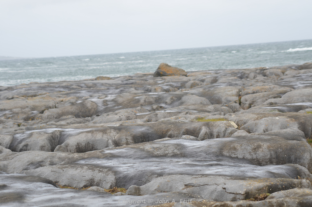 The salt covered rocky shore in Doolin, County Clare, Ireland.