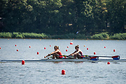 Poznan, POLAND, 20 June 2019, Thursday, Morning Practice Session, USA. W2X -/1 (b) MADDEN Cicely and (s) STONE Genevra [Gevie], FISA World Rowing Cup II, Malta Lake Course, © Peter SPURRIER/Intersport Images,<br /> <br /> 09:27:03