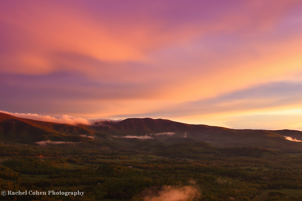 """""""Power of Light""""<br /> <br /> The power of light is witnessed in this lovely pastel hued sunset in the Blue Ridge Mountains of Virginia!!<br /> <br /> The Blue Ridge Mountains by Rachel Cohen"""