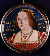 Catherine of Aragon (1485-1536) first wife of Henry VIII of England, Daughter of Ferdinand and Isabella of Spain. Miniature attributed to Horneholte.