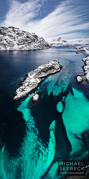 Stunning colours are revealed in the flow patterns of a Nordland fjord.<br /> <br /> Limited Edition of 125