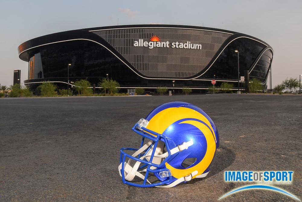 A Los Angeles Rams helmet sit outside of Allegiant Stadium, Monday, Sept. 14, 2020, in Las Vegas. (Dylan Stewart/Image of Sport)