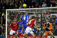 Photo: Pete Lorence.<br />Nottingham Forest v Millwall FC. Coca Cola League 1. 25/11/2006.<br />Lenny Pidgeley is left standing as Ian Breckin sends the ball into the back of the net.