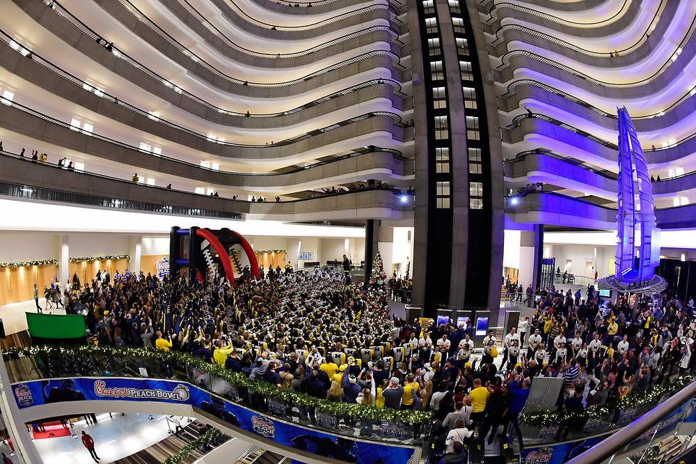 General images of the University of Michigan football FanFest at the Marriott Marquis during preparations for the Chick-fil-A Peach Bowl, December 28, 2018, in Atlanta. Michigan will face Florida in the Chick-fil-A Peach Bowl at Mercedes-Benz Stadium on December 29, 2018. (David Tulis via Abell Images for Chick-fil-A Peach Bowl)