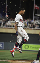September 14, 2017 - Minneapolis, MN, USA - The Minnesota Twins' Byron Buxton is mobbed by teammates after his game-winning solo home run in the 10th inning against the Toronto Blue Jays on Thursday, Sept. 14, 2017, at Target Field in Minneapolis. The Twins won, 3-2, in 10 innings. (Credit Image: © Renee Jones Schneider/TNS via ZUMA Wire)