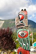 totem poles pole Gold River, Vancouver Island, British Columbia, Canada