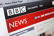 Computer screen showing the website for BBC News service