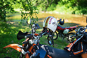 Phil Templeton prefers a uniquely designed open face helmet when riding dual sport motorcycles.