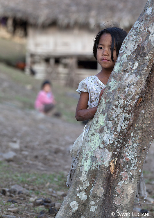 A girl hiding behind a tree while we arrive at Sisen.