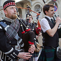 Highland bagpipers participate in a Saint Patrick's day celebration march in Budapest, Hungary on March 17, 2012. ATTILA VOLGYI