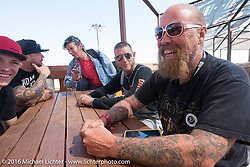 Rebecca Cunningham, Pat Patterson, Bill Dodge, Josh Owens and Will Ramsey with student bike builder Logan Lucas at the Builder Breakfast for people to meet with the participants of Michael Lichter's Motorcycles as Art Exhibition at the Buffalo Chip Crossroads during the annual Sturgis Black Hills Motorcycle Rally.  SD, USA.  August 7, 2016.  Photography ©2016 Michael Lichter.