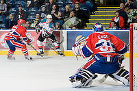 KELOWNA, CANADA, JANUARY 4: Jessey Astles #27 of the Kelowna Rockets takes a shot on net as the Spokane Chiefs visit the Kelowna Rockets on January 4, 2012 at Prospera Place in Kelowna, British Columbia, Canada (Photo by Marissa Baecker/Getty Images) *** Local Caption ***