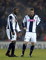 Photo: Glyn Thomas.<br />West Bromwich Albion v Reading. The FA Cup. 07/01/2006.<br />West Brom's Geoff Horsfield (R) and Kevin Campbell look dejected after cconceding a equaliser just seconds after taking the lead.