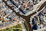 Nederland, Groningen, Groningen, 01-05-2013;<br /> Groningen-stad, centrum. Links water van Nooderhaven, rechts Hoge der A, onder Reitdiep.<br /> Detail and close-up of the city of Groningen, old town. Noorderhaven.<br /> luchtfoto (toeslag op standard tarieven)<br /> aerial photo (additional fee required)<br /> copyright foto/photo Siebe Swart